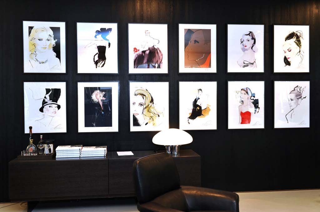 "David Downton's works from his book ""Portraits of the World's Most Stylish Women"" on exhibit at Minotti"