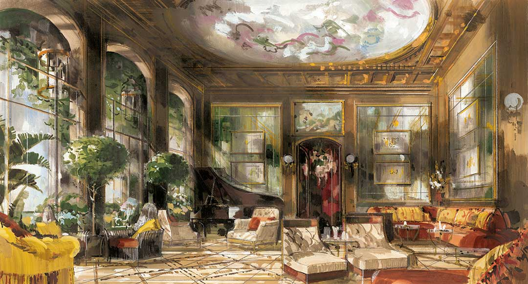 Grand Hotel A Villa Feltrinelli, Drawing Room, Lake Garda, Italy by Jeremiah Goodman. Giclee printing by Art4site Ltd.